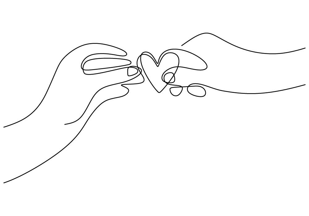 Mains échangeant un coeur