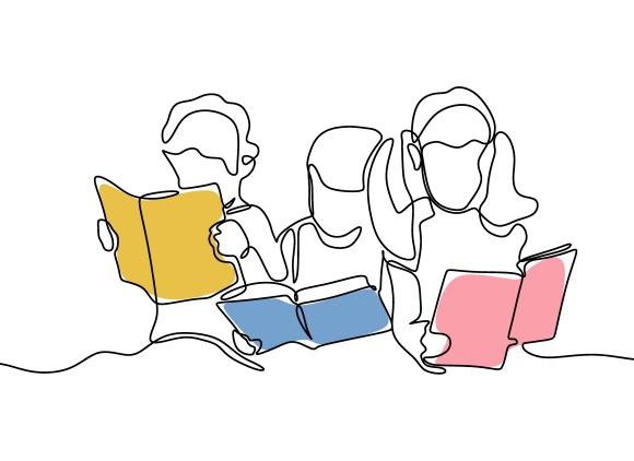 3 enfants lisant des livres